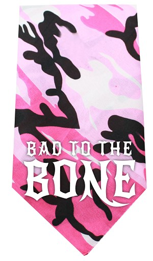 Bad to the Bone Screen Print Bandana Pink Camo