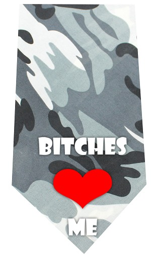 Bitches Love Me Screen Print Bandana Grey Camo