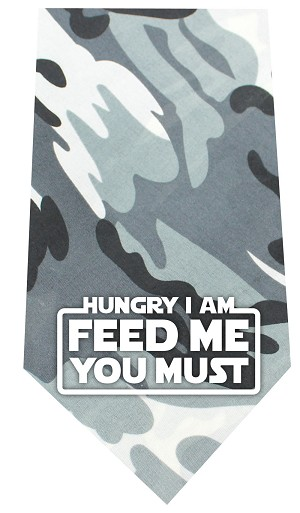 Hungry I Am Screen Print Bandana Grey Camo