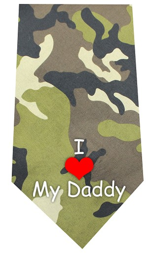 I Love Daddy Screen Print Bandana Green Camo