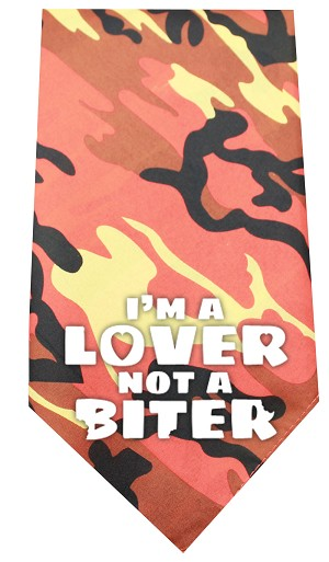 Love not a Biter Screen Print Bandana Orange Camo