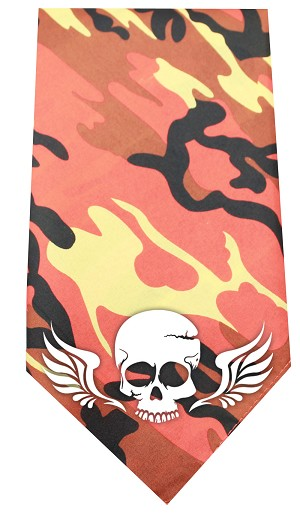 Skull Wings Screen Print Bandana Orange Camo