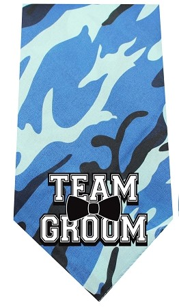 Team Groom Screen Print Bandana Blue Camo