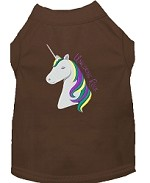 Unicorns Rock Embroidered Dog Shirt Brown XS (8)