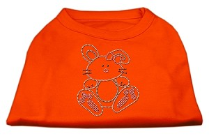 Bunny Rhinestone Dog Shirt Orange Lg (14)