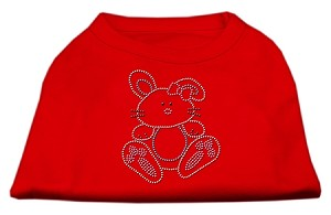 Bunny Rhinestone Dog Shirt Red XS (8)