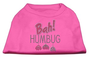 Bah Humbug Rhinestone Dog Shirt Bright Pink XL (16)