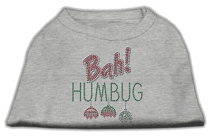 Bah Humbug Rhinestone Dog Shirt Grey Lg (14)