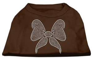 Rhinestone Bow Shirts Brown XXL (18)