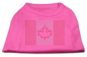 Canadian Flag Rhinestone Shirts Bright Pink L (14)