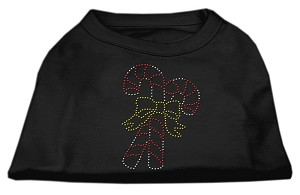 Candy Cane Rhinestone Shirt Black S (10)
