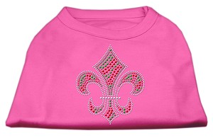 Holiday Fleur de lis Rhinestone Shirts Bright Pink XS (8)