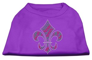 Holiday Fleur de lis Rhinestone Shirts Purple L (14)