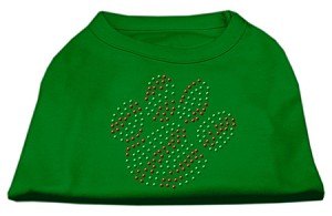Holiday Paw Rhinestone Shirts Emerald Green Lg (14)