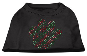 Holiday Paw Rhinestone Shirts Black XXL (18)