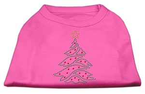 Christmas Tree Rhinestone Shirt Bright Pink S (10)