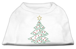 Christmas Tree Rhinestone Shirt White XS (8)