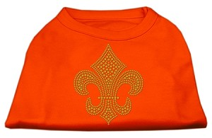 Gold Fleur de Lis Rhinestone Shirts Orange XL (16)