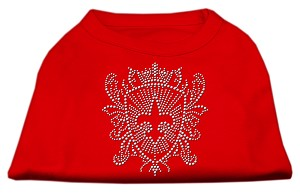 Rhinestone Fleur De Lis Shield Shirts Red XS (8)