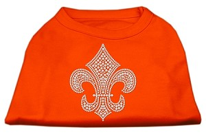 Silver Fleur de Lis Rhinestone Shirts Orange XL (16)
