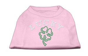 Four Leaf Clover Outline Rhinestone Shirts Light Pink M (12)