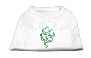 Four Leaf Clover Outline Rhinestone Shirts White L (14)