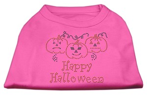 Happy Halloween Rhinestone Shirts Bright Pink M (12)