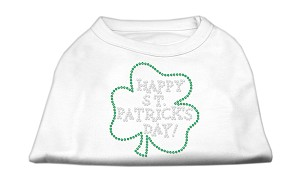 Happy St. Patrick's Day Rhinestone Shirts White XXL (18)