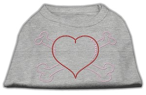 Heart and Crossbones Rhinestone Shirts Grey XXXL(20)