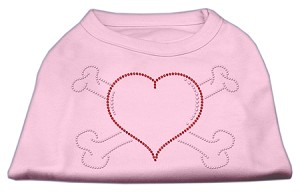 Heart and Crossbones Rhinestone Shirts Light Pink XL (16)
