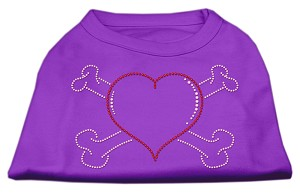 Heart and Crossbones Rhinestone Shirts Purple XXL (18)