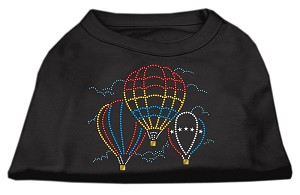 Hot Air Balloon Rhinestone Shirts Black XL (16