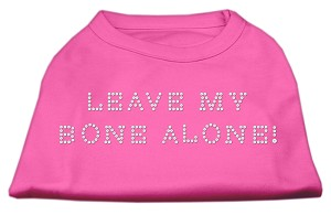 Leave My Bone Alone! Rhinestone Shirts Bright Pink XS (8)