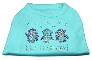 Let It Snow Penguins Rhinestone Shirt Aqua S (10)