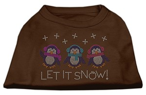 Let It Snow Penguins Rhinestone Shirt Brown XS (8)