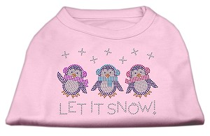 Let It Snow Penguins Rhinestone Shirt Light Pink XXL (18)
