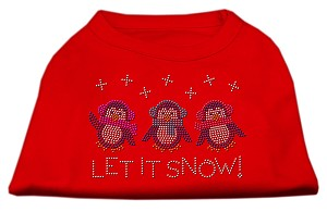 Let It Snow Penguins Rhinestone Shirt Red L (14)