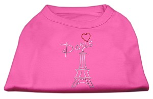 Paris Rhinestone Shirts Bright Pink S (10)