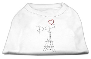 Paris Rhinestone Shirts White L (14)