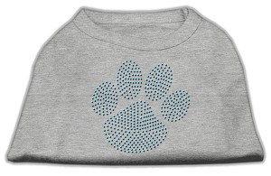 Blue Paw Rhinestud Shirt Grey M (12)