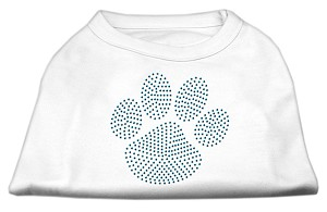 Blue Paw Rhinestud Shirt White XS (8)