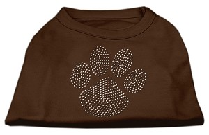 Clear Rhinestone Paw Shirts Brown XXXL (20)
