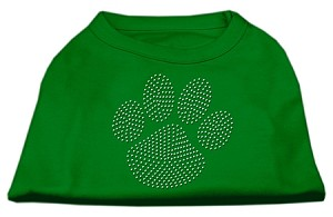 Clear Rhinestone Paw Shirts Emerald Green XXL (18)