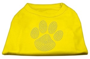 Clear Rhinestone Paw Shirts Yellow Sm (10)