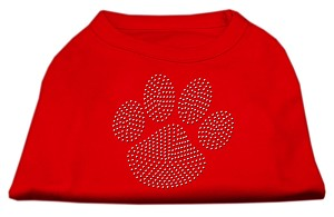 Clear Rhinestone Paw Shirts Red L (14)