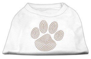 Orange Paw Rhinestud Shirts White XL (16)