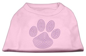 Purple Paw Rhinestud Shirts Light Pink XXXL(20)
