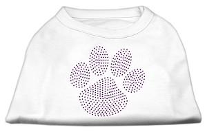 Purple Paw Rhinestud Shirts White S (10)