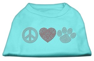 Peace Love and Paw Rhinestone Shirt Aqua XS (8)
