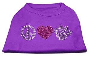 Peace Love and Paw Rhinestone Shirt Purple XXXL(20)